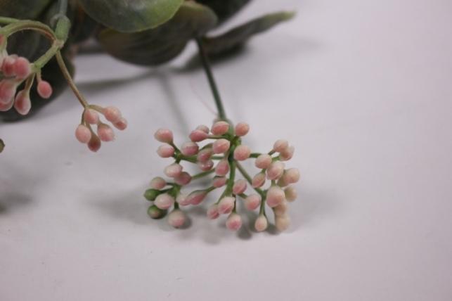 искусственные растения - 0367 ветка бело/розовая 33см (10шт в уп)