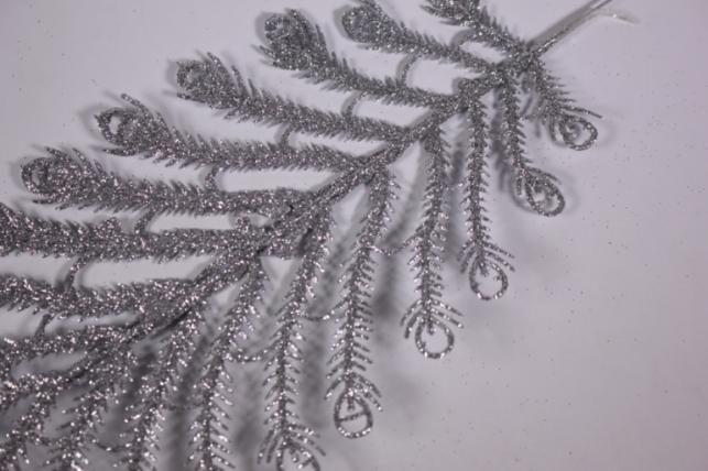 искусственные растения - 0457 ветка серебро 33см