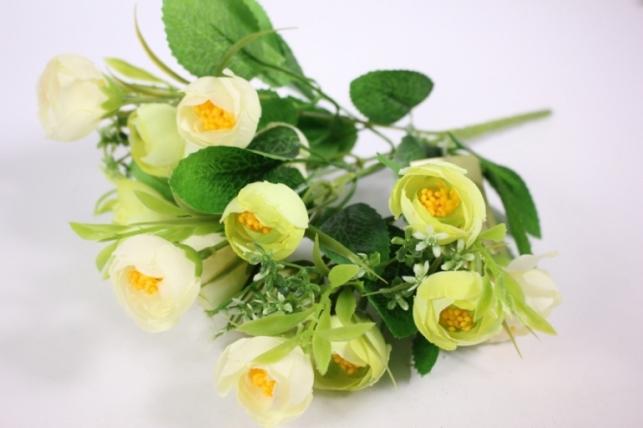 Искусственные растения - 8432 Ранункулюс белый/желтый 25см