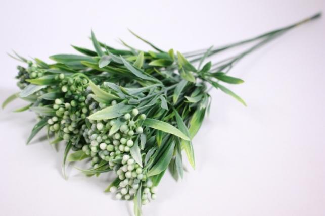 искусственные растения - 9538 ветка с белыми ягодками 40см (10шт в уп)
