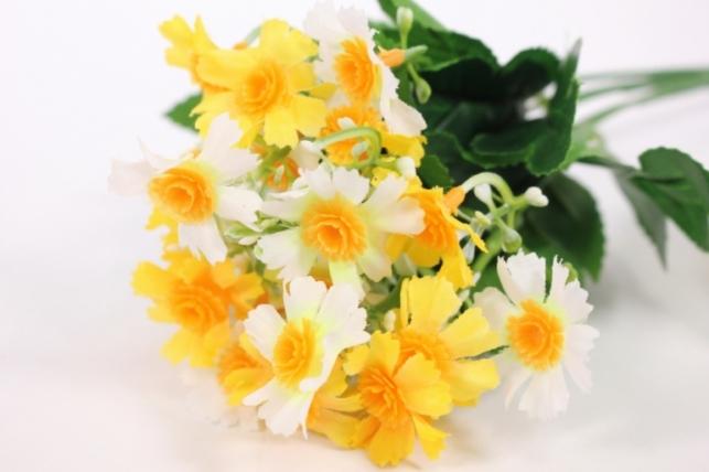 Искусственные растения - Бархотки мини бело-желтые L=30см