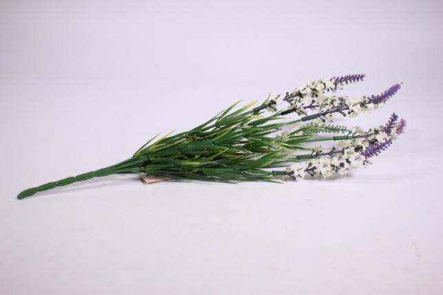 искусственные растения - цветы-веточка левкой фиолетово-белая 35см  kwla235 (код 7272)