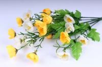 Искусственные растения - Лютики букет 33см бело-желтый