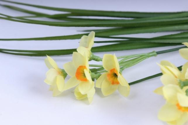 искусственные растения - нарцисс букет 40см желтый