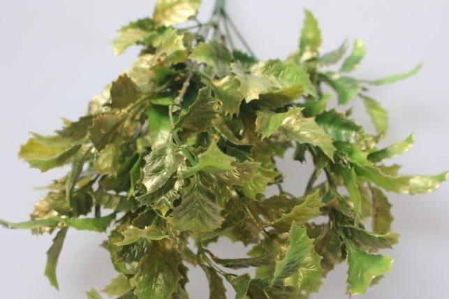 искусственные растения - падуба ветка перламутровая зелено-золотая 30см