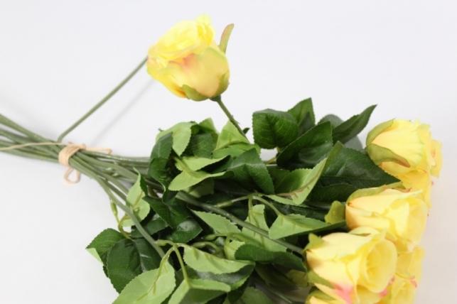 искусственные растения - роза 44см желтая 12шт в уп)