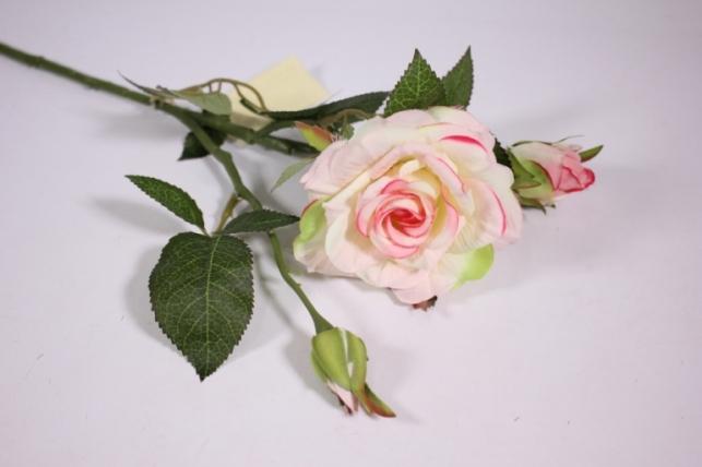 искусственные растения - роза 55см бело-розовый sun425
