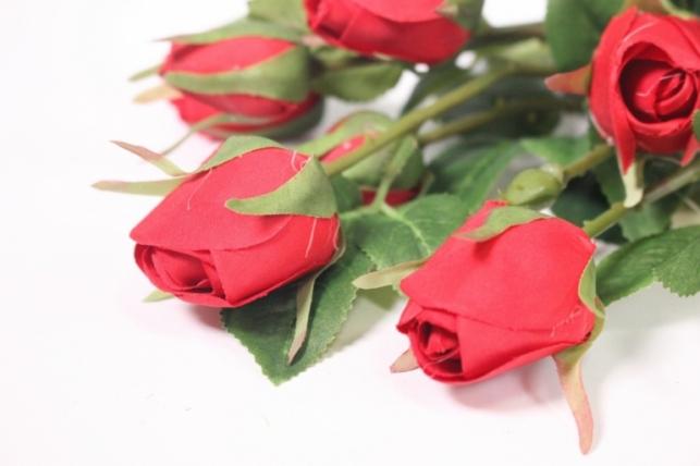 искусственные растения - роза бутон красная