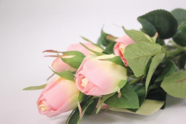 искусственные растения - роза бутон розовая