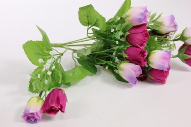 искусственные растения - роза бутоны с гипсофилой фиолетово-сиреневая l=35см 18460-5