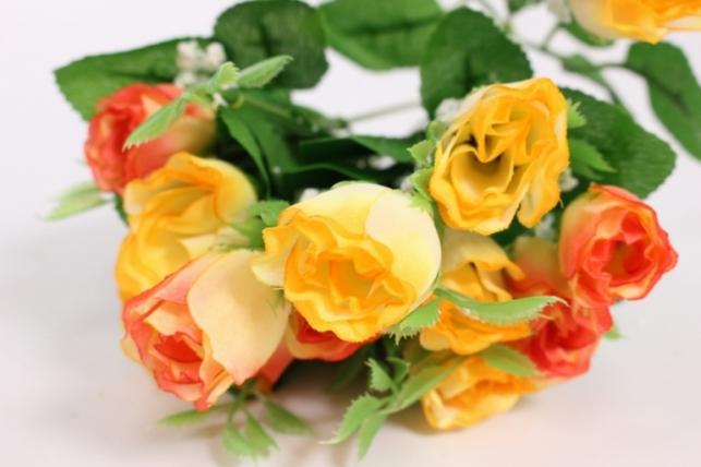 Искусственные растения - Роза бутоны с гипсофилой желто-розовая L=35см