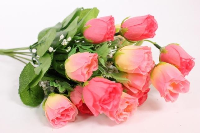 Искусственные растения - Роза бутоны с гипсофилой розовые L=35см
