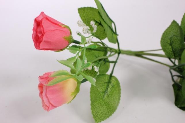 искусственные растения - роза бутоны с гипсофилой розовые l=35см 18460-1
