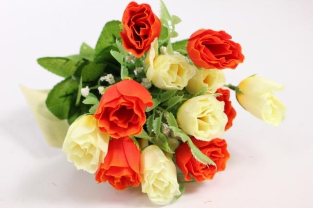 Искусственные растения - Роза бутоны с гипсофилой шампань/оранжевые L=35см