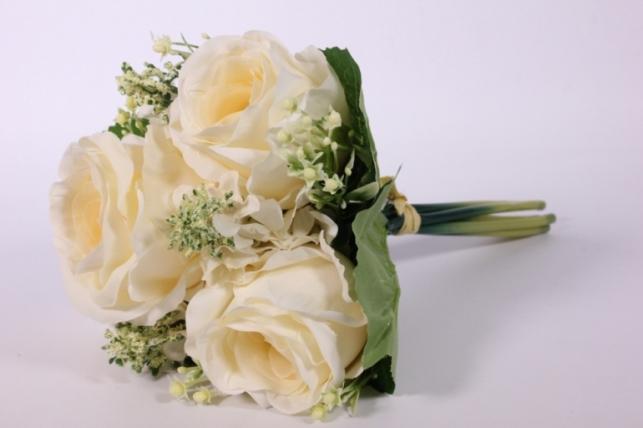 Искусственные растения - Роза крупная с левкоем кремовая L=29см