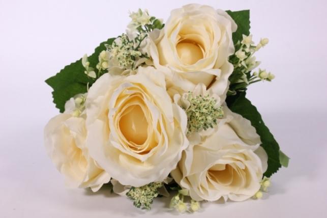 искусственные растения - роза крупная с левкоем кремовая l=29см 18462-5