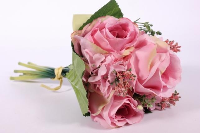 Искусственные растения - Роза крупная с левкоем пепельно-розовая L=29см