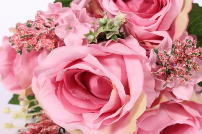 искусственные растения - роза крупная с левкоем пепельно-розовая l=29см 18462-4