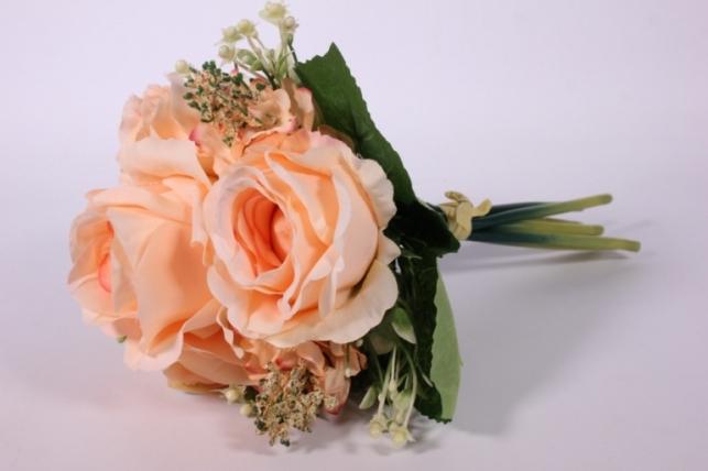искусственные растения - роза крупная с левкоем персиковая l=29см 18462-2