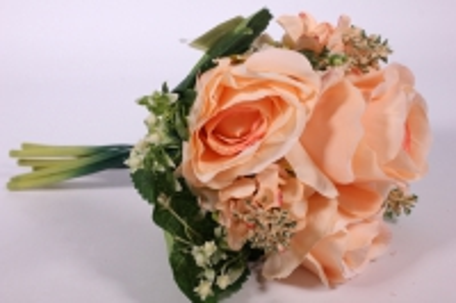 Искусственные растения - Роза крупная с левкоем персиковая L=29см