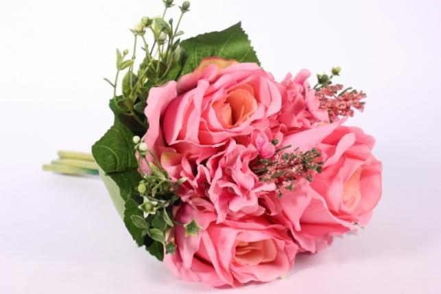 Искусственные растения - Роза крупная с левкоем розовая L=29см