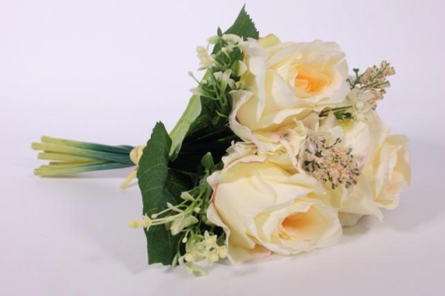 Искусственные растения - Роза крупная с левкоем шампань L=29см