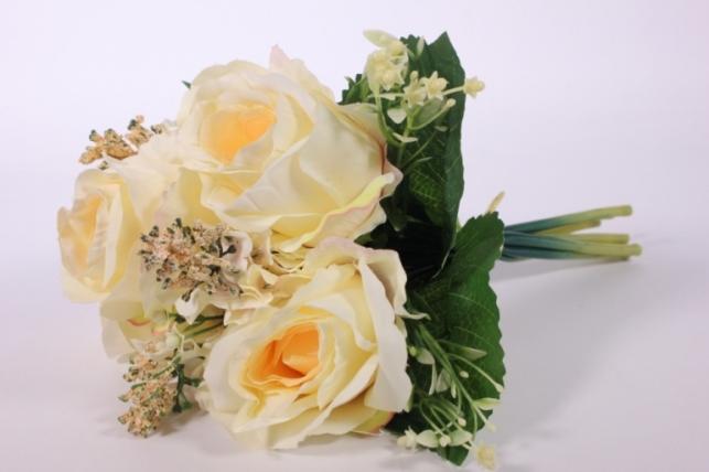 искусственные растения - роза крупная с левкоем шампань l=29см 18462-6