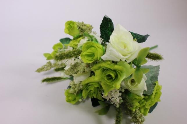 искусственные растения - розакудряваябело-салатоваябукет30см
