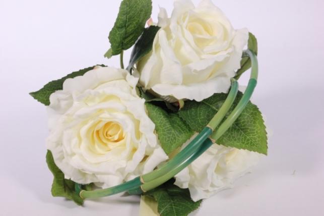 Искусственные растения - Роза с бамбуком белая L=26см