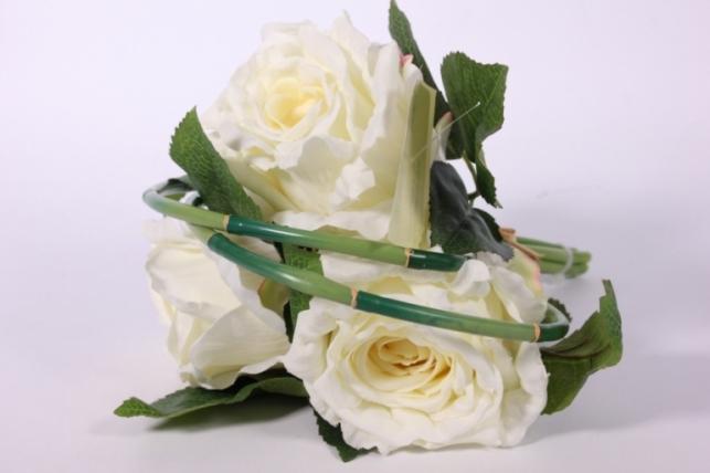 искусственные растения - роза с бамбуком белая l=26см 18456-3