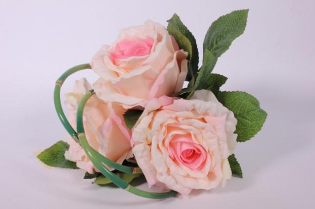 Искусственные растения - Роза с бамбуком бело-розовая L=26см