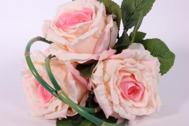 искусственные растения - роза с бамбуком бело-розовая l=26см 18456-1