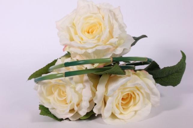 искусственные растения - роза с бамбуком шампань l=26см 18456-2