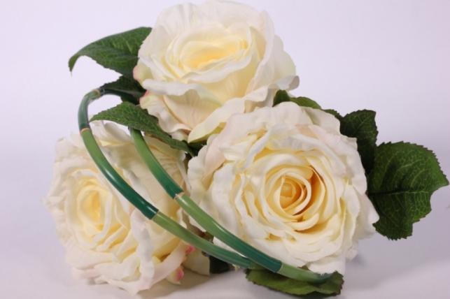 Искусственные растения - Роза с бамбуком шампань L=26см
