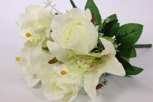 Искусственные растения - Роза с лилией белая L=36см