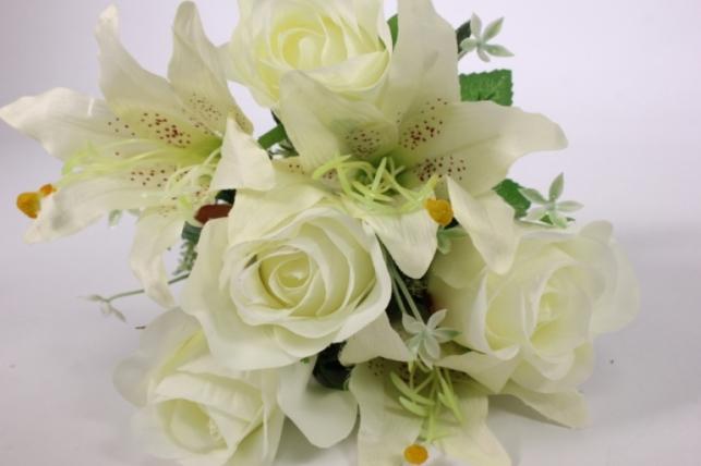 искусственные растения - роза с лилией белая l=36см 18457-1