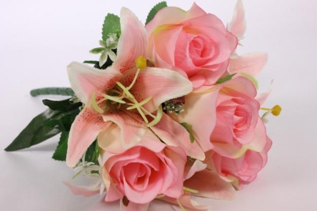Искусственные растения - Роза с лилией розовая L=36см