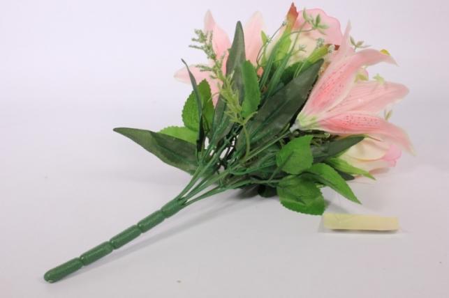 искусственные растения - роза с лилией розовая l=36см 18457-3
