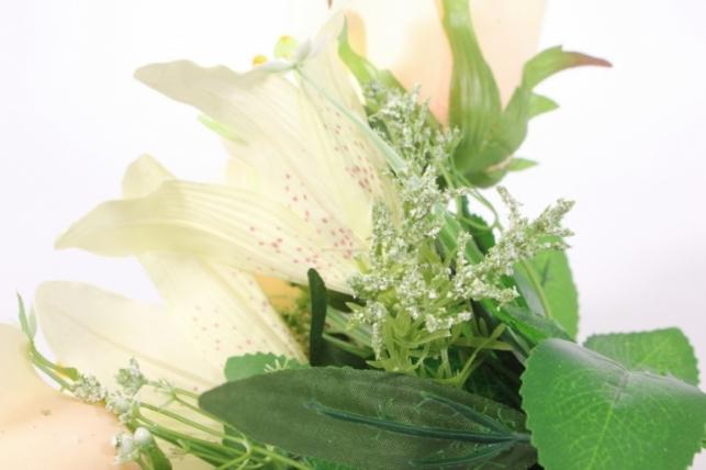 искусственные растения - роза с лилией шампань l=36см 18457-4