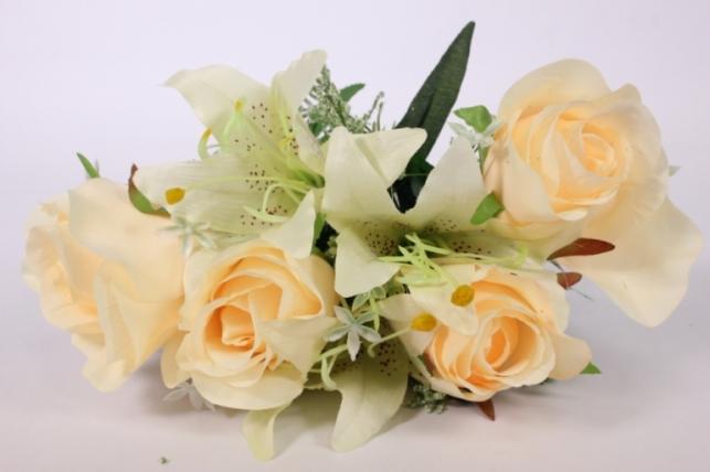 Искусственные растения - Роза с лилией шампань L=36см