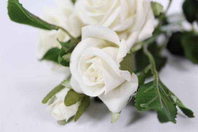 искусственные растения - роза ветка 41см белая