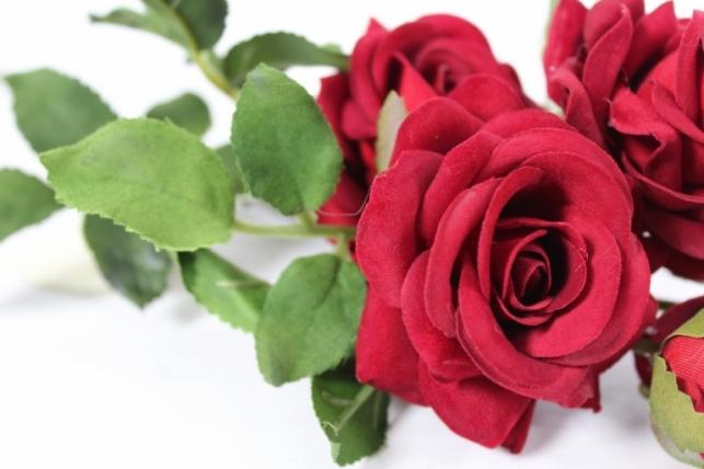 искусственные растения - роза ветка 41см бордо