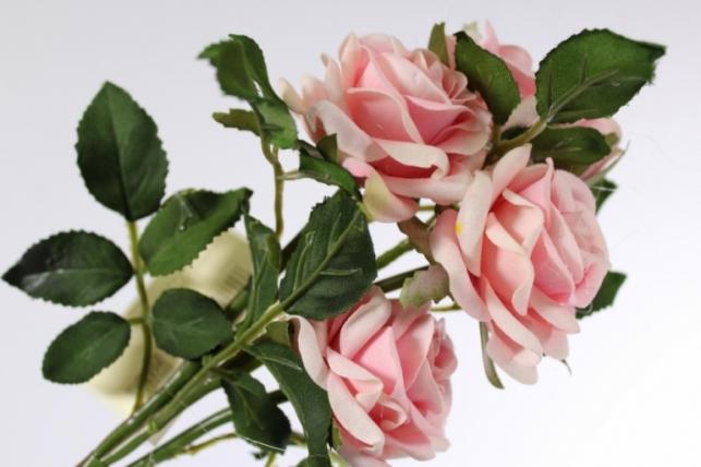 искусственные растения - роза ветка 41см розовая