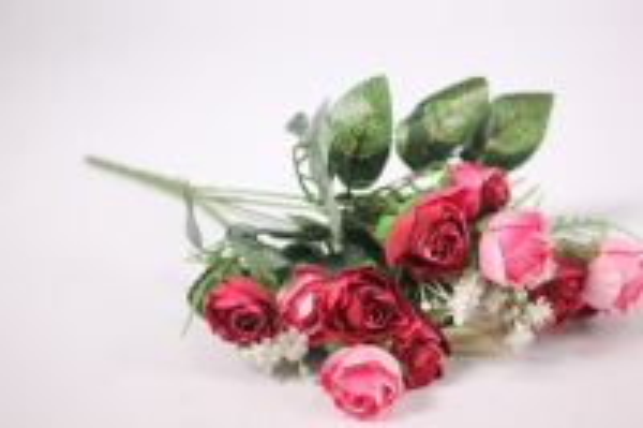 искусственные растения - розочка с гипсофилой фуксия/малиновая