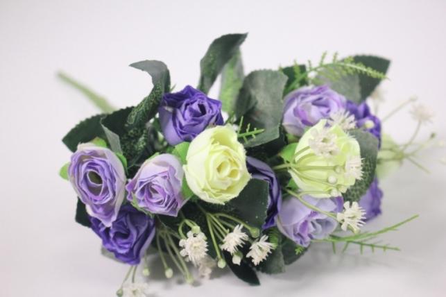 искусственные растения - розочка с гипсофилой шампань/фиолетовая