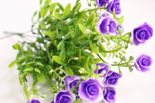 искусственные растения - розочки сиреневые l=35см 18459-4