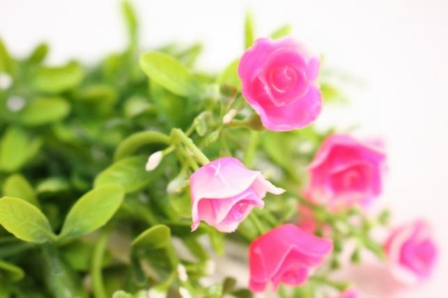 искусственные растения - розочки ярко-розовые l=35см 18459-3