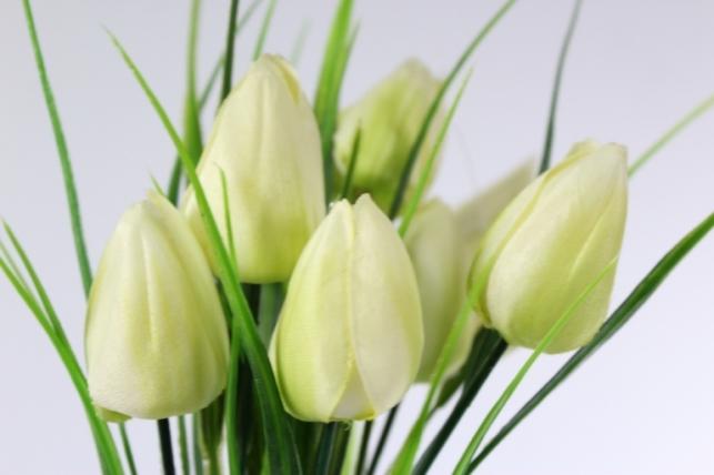 искусственные растения - тюльпан букет 27см белый