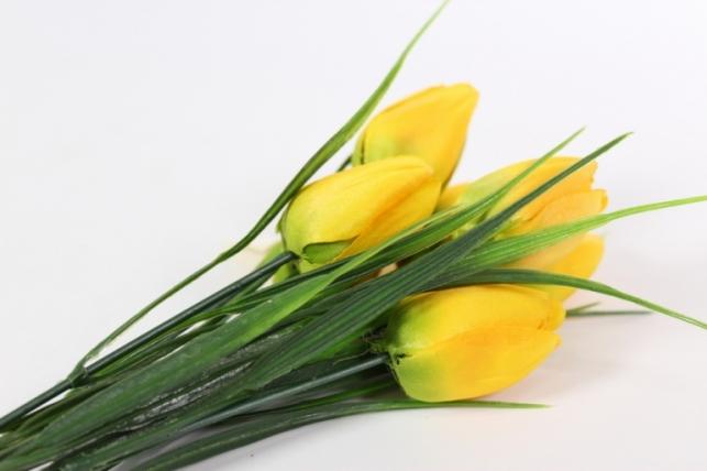 искусственные растения - тюльпан букет 27см желтый