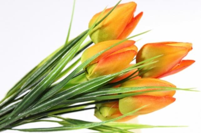 искусственные растения - тюльпан букет 27см оранжевый
